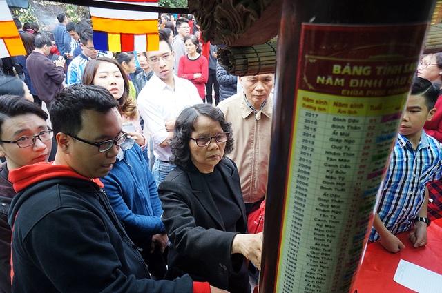 Trong khuôn viên, nhà chùa đã bố trí nhiều cột xem sao chiếu mệnh và các bàn phục vụ đăng ký để dâng sao tốt và giải sao xấu.