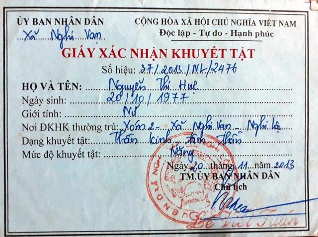 Giấy xác nhận chị Nguyễn Thị Huệ (mẹ cháu Pháp) mắc căn bệnh tâm thần.
