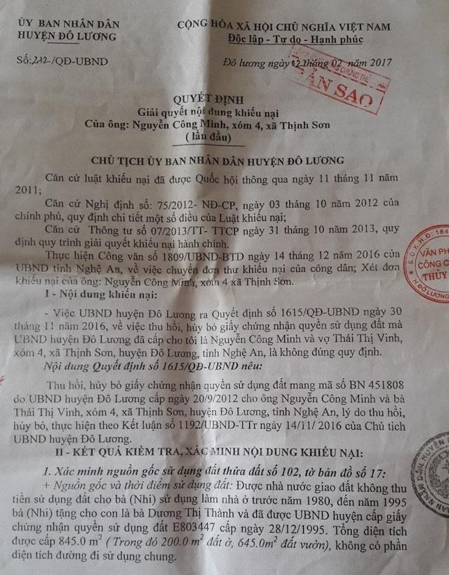 """Quyết định của UBND huyện Đô Lương lại cho rằng phần đường trên là lối đi chung của 3 hộ gia đình và việc đưa vào sơ đồ đất của gia đình bà Thành là """"sai sót""""."""