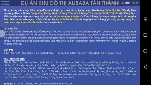 Sau khi bị bóc phốt ở Long Thành (Đồng Nai) và Củ Chi (TPHCM), công ty Alibaba đang chuẩn bị triển khai dự án ở Bà Rịa - Vũng Tàu có tên Dự án khu đô thị Alibaba Tân Thành.