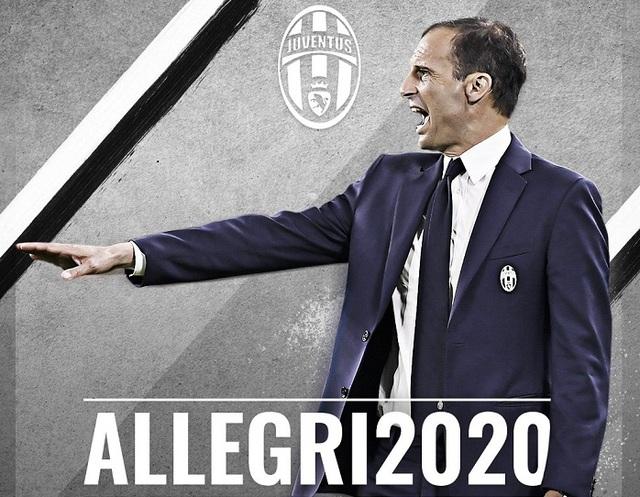 HLV Allegri gia hạn hợp đồng với Juventus tới năm 2020