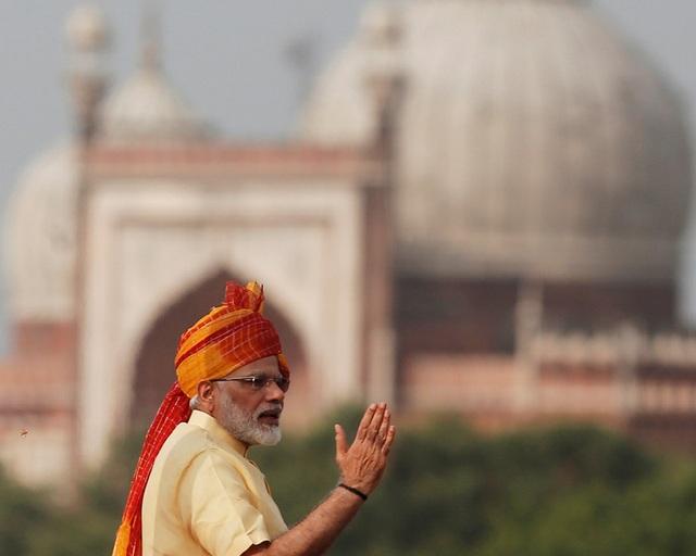 Thủ tướng Ấn Độ Narendra Modi phát biểu nhân ngày Quốc khánh Ấn Độ 15/8 (Ảnh: AFP)