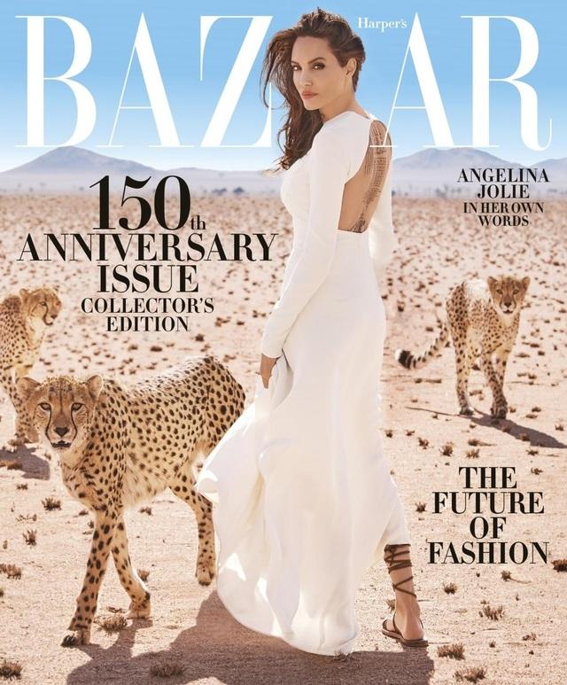 Angelina Jolie đã trở thành gương mặt trang bìa trên ấn phẩm đặc biệt kỷ niệm 150 năm phát hành của tạp chí Harpers Bazaar, số tháng 11/2017. Toàn bộ bức ảnh này được thực hiện tại Namibia với cảnh sắc thiên nhiên nguyên sơ và rất hoành tráng.