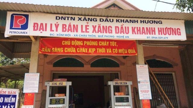 Cửa hàng xăng dầu Khanh Hương ở xóm Mới, xã Châu Thôn - nơi xảy vụ việc.