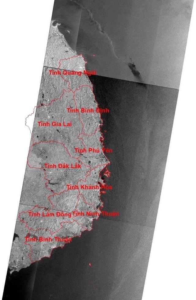 Ảnh ALOS- 2 chụp ngày 7/1/2017 các khu vực bị ảnh hưởng của cơn bão Damrey. (Nguồn: JAXA)