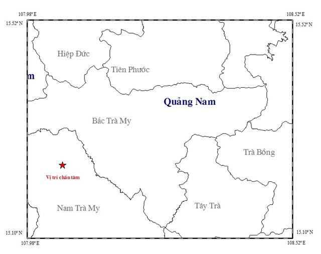 Vị trí tâm chấn nơi xảy ra động đất 3,9 độ Richter ở huyện Nam Trà My. (Ảnh Viện Vật lý địa cầu)
