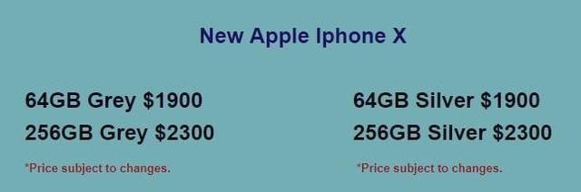 Giá iPhone X tại SG Mobile (Singapore)