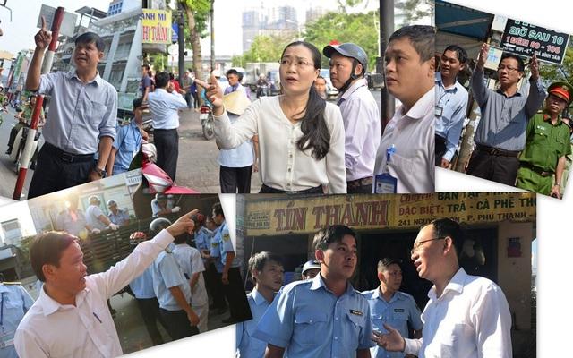 Ngoài ra, hiệu ứng của quận 1 cũng lan ra các quận ở TPHCM, trong ảnh là lãnh đạo các quận 10,12, Tân Phú, Phú Nhuận, Bình Tân đồng loạt xuống đường chỉ đạo công tác lập lại trật tự đô thị, chỉnh trang vỉa hè