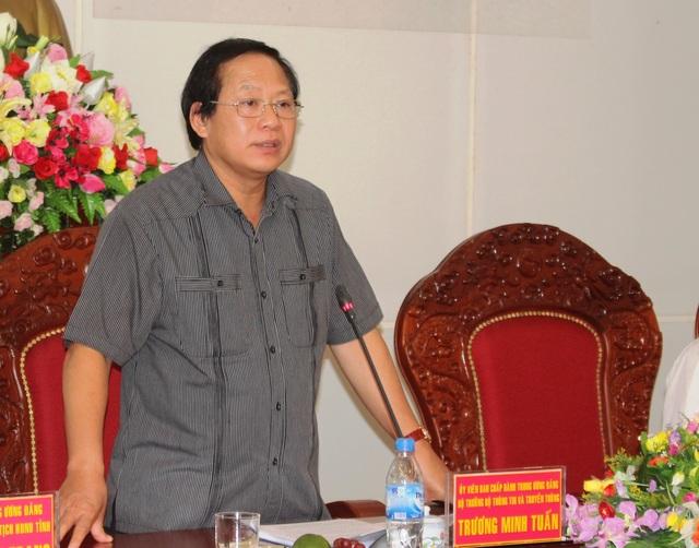 Bộ trưởng Trương Minh Tuấn phát biểu chỉ đạo tại buổi làm việc