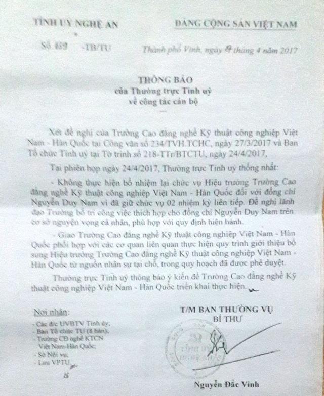 Thường trực Tỉnh ủy Nghệ An cũng đã có Thông báo số 639-TB/TU, trong đó Thường trực Tỉnh ủy Nghệ An nhất trí không thực hiện bổ nhiệm lại chức vụ hiệu trưởng trường Cao đẳng nghề kỹ thuật công nghiệp Việt Nam - Hàn Quốc Nghệ An đối với ông Nguyễn Duy Nam vì đã giữ chức vụ 2 nhiệm kỳ liên tiếp.