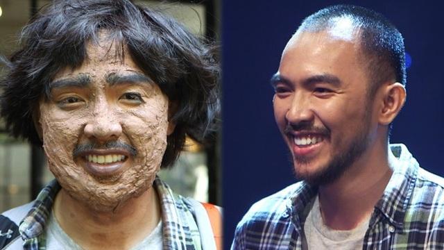 Gương mặt của người chơi trước và sau khi hoá trang thành một nhân vật khác.