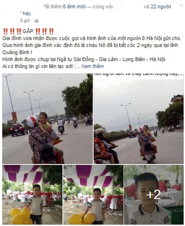 Hình ảnh về cháu bé giống bé trai Trần Trung Nghĩa đang được chia sẻ trên mạng xã hội Facebook.