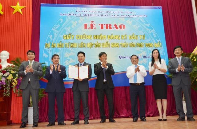 Dự án Khu liên hợp sản xuất gang thép Hòa Phát Dung Quất đã được chính thức cấp Giấy chứng nhận đầu tư