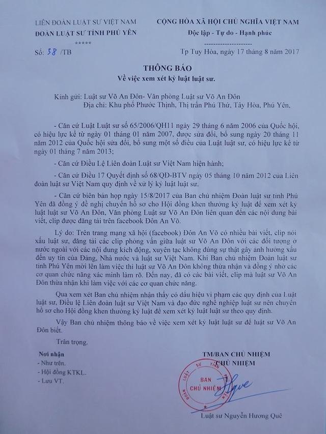 Văn bản thông báo xem xét kỷ luật đối với LS Võ Văn Đôn.