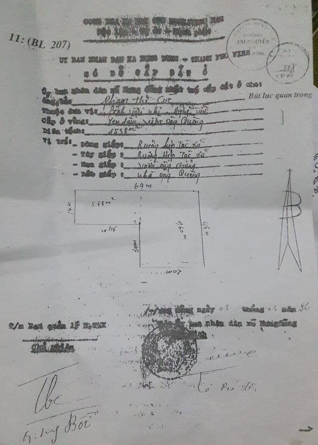 Sơ đồ cấp đất năm 1986 cho bà Phạm Thị Cúc.
