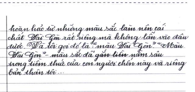 Nét chữ của Tường Vy trong bài Văn Sài Gòn màu gì giành giải Nhất cuộc thi Văn hãy - Chữ tốt 2017 của TPHCM