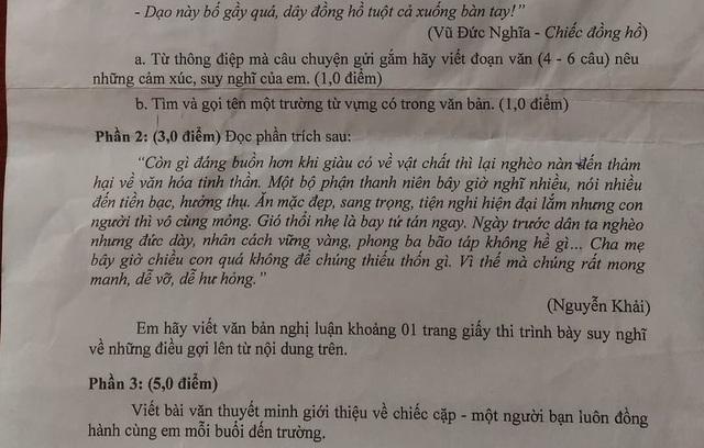 Đề Văn về giàu vật chất, nghèo tinh thần trong kỳ thi học kỳ của học sinh khối 8 ở Q.3, TPHCM bị phán ảnh là quá sức với học sinh