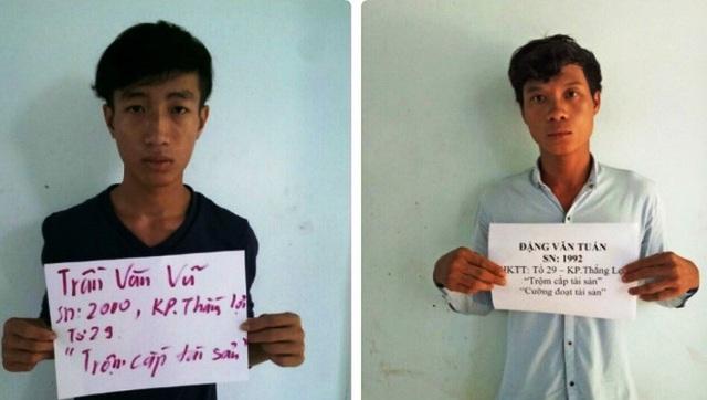 Hai đối tượng Vũ và Tuấn từng bị bắt giữ vì hành vi trộm cắp tài sản