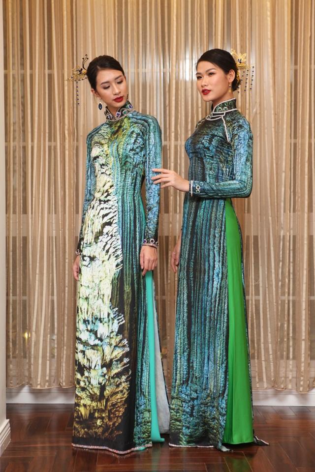 Động Thiên đường của Quảng Bình hiện lên trên áo dài Nhật Dũng.