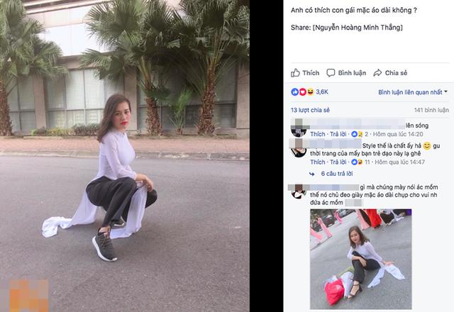 Bức ảnh Kiều Nhung mặc áo dài ngồi xổm khoe giày bỗng nhiên thành chủ đề tranh cãi của dân mạng
