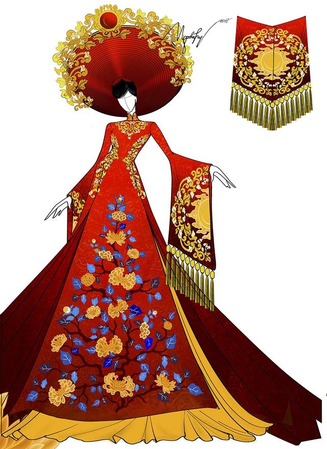 Đó là bộ áo dài màu đỏ nặng hơn 30 kg, với phần đuôi dài, được xẻ thành nhiều tà, tay dài kết hợp cùng mấn đội đầu được trang trí cầu kỳ, nặng gần 8 kg.
