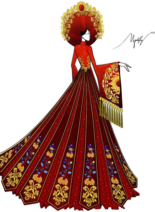 Phần cầu vai, eo và tà áo được trang trí bằng những họa tiết hoa văn dát vàng. Hoa văn trên chiếc mấn và thân áo là được lấy cảm hứng từ họa tiết thời Nguyễn đặc biệt là từ pháp lam cung đình Huế.