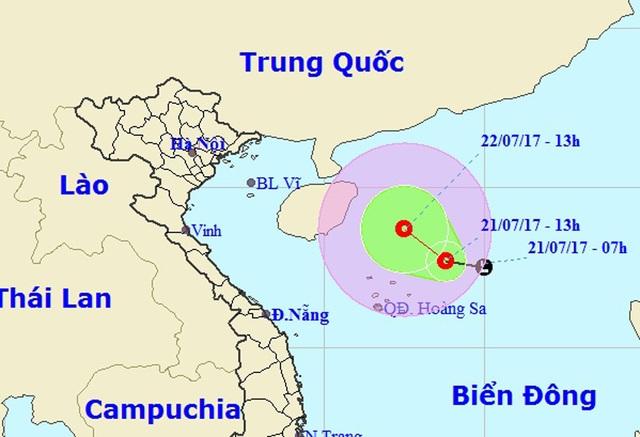 Vị trí và hướng di chuyển của áp thấp nhiệt đới (Ảnh: NCHMF).