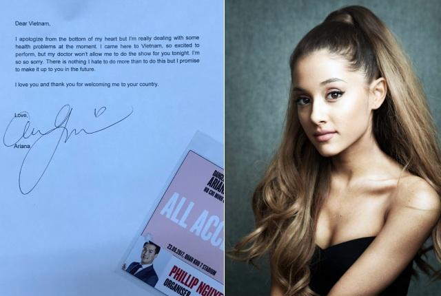 Ngay sau đó, doanh nhân Phillip Nguyễn cũng thông báo chính thức và gửi lời xin lỗi từ ban tổ chức và Ariana đến toàn bộ khán giả.