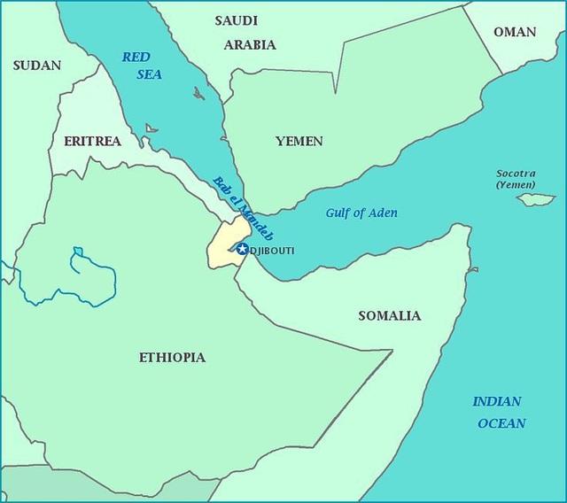 Djibouti nằm ở vị trí chiến lược tại khu vực Sừng châu Phi (Ảnh: Google Maps)