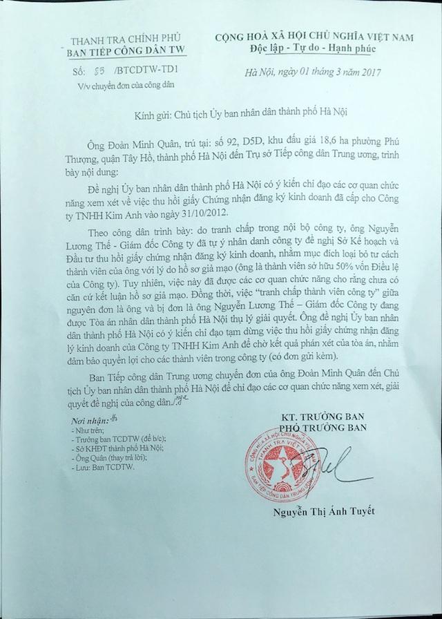 Văn bản của Ban Tiếp công dân Trung ương gửi Chủ tịch UBND TP Hà Nội.