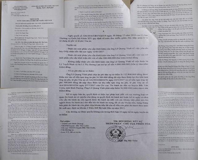 Bản án sơ thẩm của TAND huyện Bắc Tân Uyên.