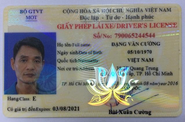 Bằng lái xe mang tên đối tượng Đặng Văn Cường đang bị truy nã