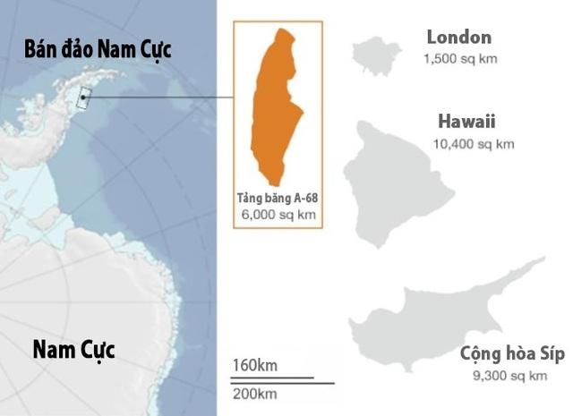 Tảng băng có diện tích lên tới 6.000 km2, rộng gấp 4 lần London.