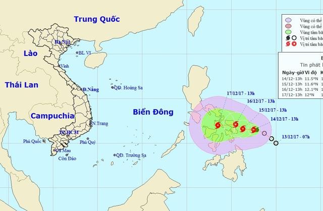 Vị trí và hướng di chuyển của bão Kai-tak. (Ảnh: NCHMF).