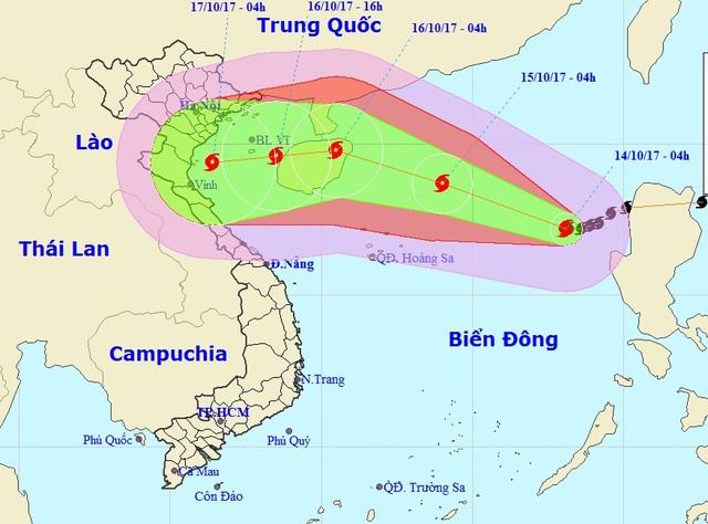 Bão số 11 được dự báo sẽ đổ bộ vào khu vực Bắc miền Trung (Ảnh: NCHMF).