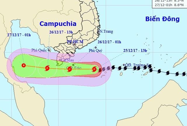 Vị trí và hướng di chuyển của bão số 16. (Ảnh: NCHMF).
