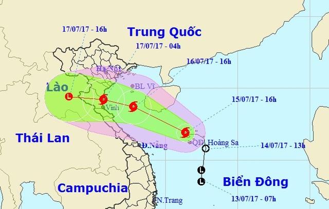 Vị trí và hướng di chuyển của bão số 2 (Ảnh: NCHMF).