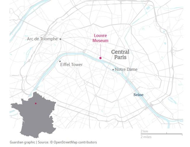Bảo tàng Louvre nằm ở trung tâm thủ đô Paris (Đồ họa: Guardian)
