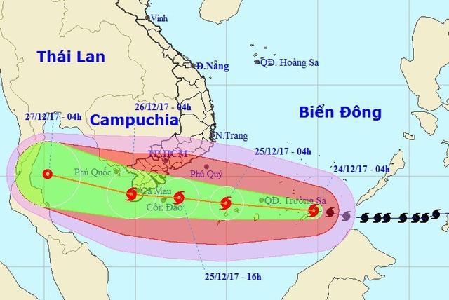 Vị trí và hướng di chuyển của bão Tembin. (Ảnh: NCHMF).