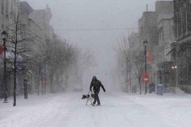 Tuyết rơi trắng trời tại khu vực Nyack ở ngoại ô thành phố New York