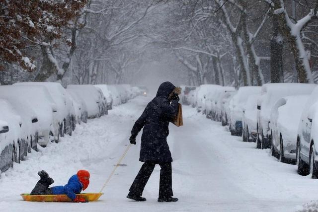 Các em nhỏ thích thú vui chơi trong bão tuyết tại New York