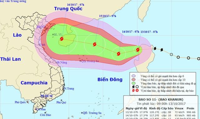 Cơn bão số 11 hướng vào miền Bắc - 1