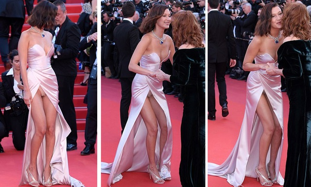 Tuy nhiên, trong một số khoảnh khắc, chiếc váy phản chủ lại khiến cô lộ hàng khi bắt tay chào hỏi một nghệ sĩ lớn tuổi. Với bản lĩnh của một người mẫu chuyên chụp hình với áo tắm và sản phẩm nội y, Bella tỏ ra rất tự nhiên và thoải mái.