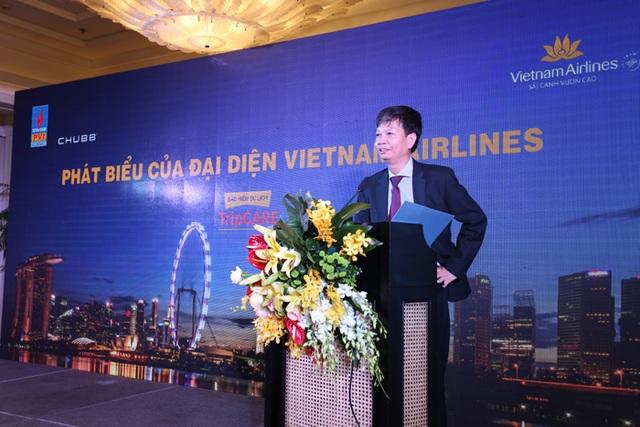 Ông Trịnh Ngọc Thành, Phó TGĐ Vietnam Airlines phát biểu tại Lễ ra mắt TripCARE