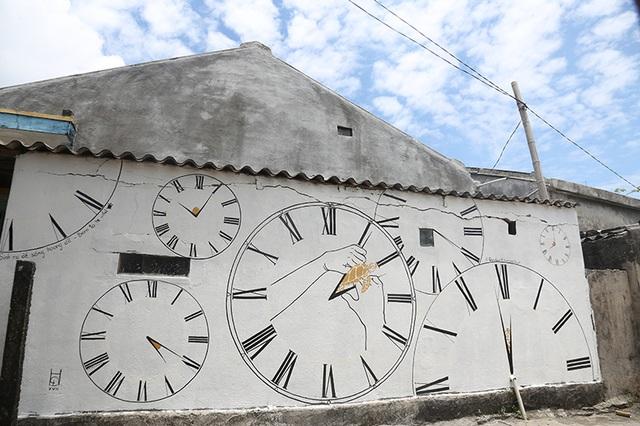 Bức vẽ mang tên Thời gian không chờ đợi, có nội dung cảnh tỉnh người dân trước bờ vực tuyệt chủng của loài rùa biển