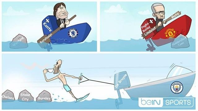 Trong khi Conte và Mourinho gặp khó thì Pep Guardiola vẫn xuôi chèo mát mái