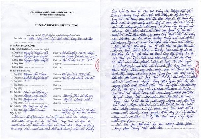 Biên bản kiểm tra hiện trường của UBND huyện Phú Xuyên nơi nhà máy xử lý rác thải công ty CP Đầu tư và Phát triển Tâm Sinh Nghĩa gây ô nhiễm
