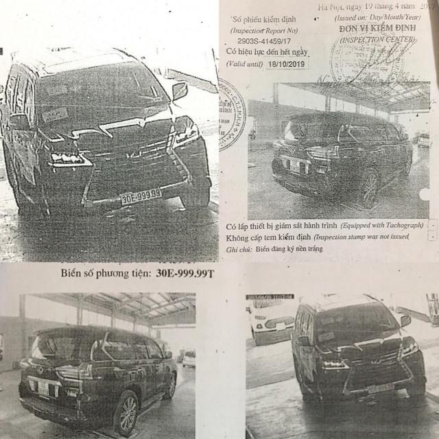 Hình ảnh chiếc xe Lexus mang biển 30E-999.99 được kiểm định ngày 19/4/2017