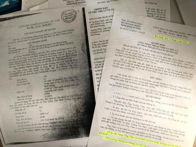 Văn bản cam kết và quyết định công nhận thuận tình ly hôn đối với ông Thảo, bà Oanh.