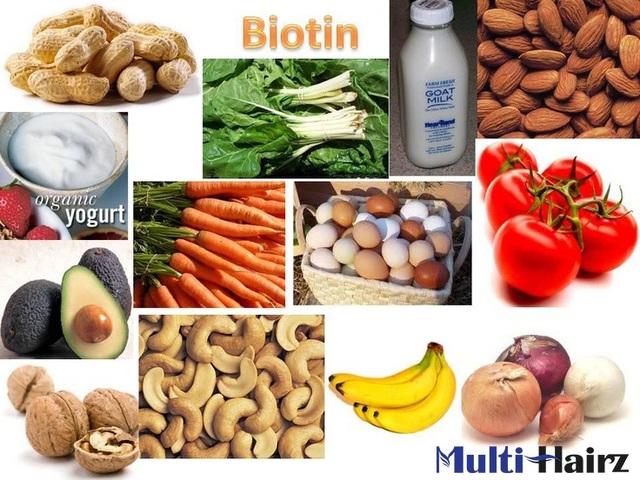 Biotin được tìm thấy trong gan, trứng, cá, thịt, hạt vỏ cứng, hạt và một số loại rau.